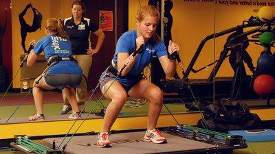 A female athlete trains in the CoxHealth Sports Medicine Center.