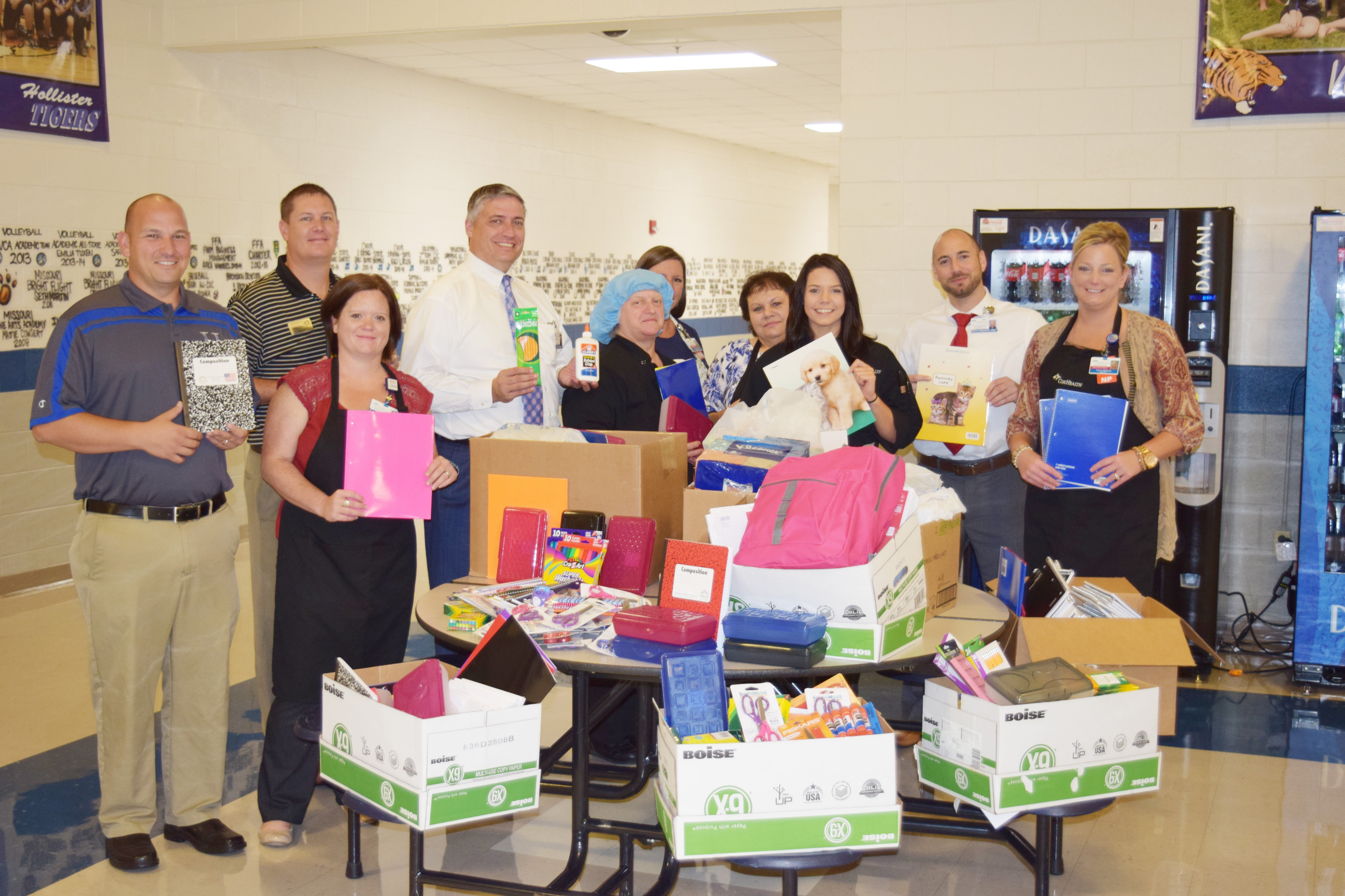 Hollister, Mo., students will receive school supplies from Cox Medical Center Branson employees.