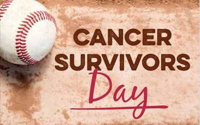 A logo for Cancer Survivors Day at Hammons Field.