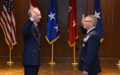 Dr. Fenwick became a Major General at a ceremony at Cox South.