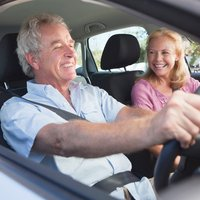 An elderly man applies driving skills he learned from CoxHealth's driver safety class.