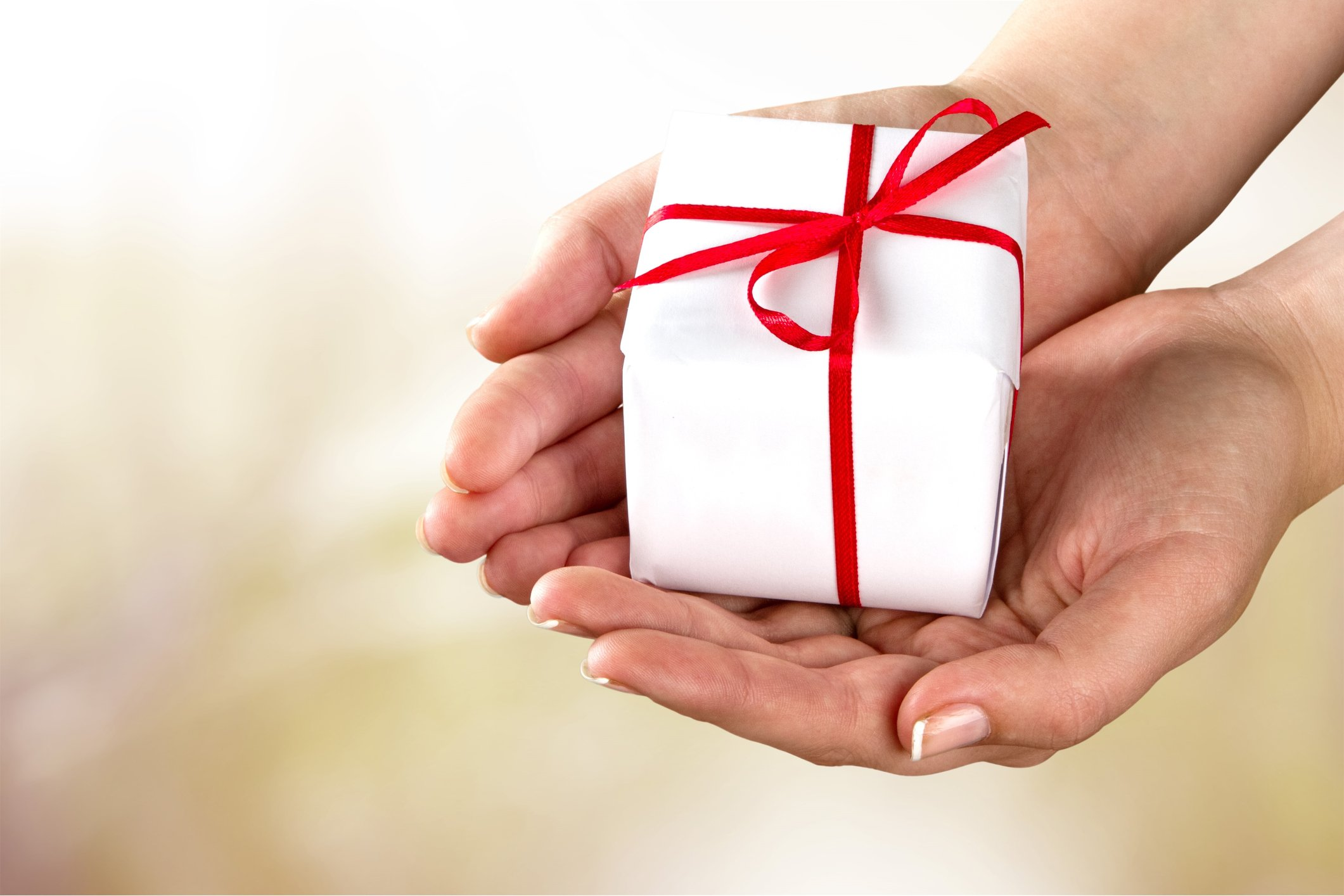 A pair of hands is holding a gift purchased from CoxHealth's Collective Gifts Sale.