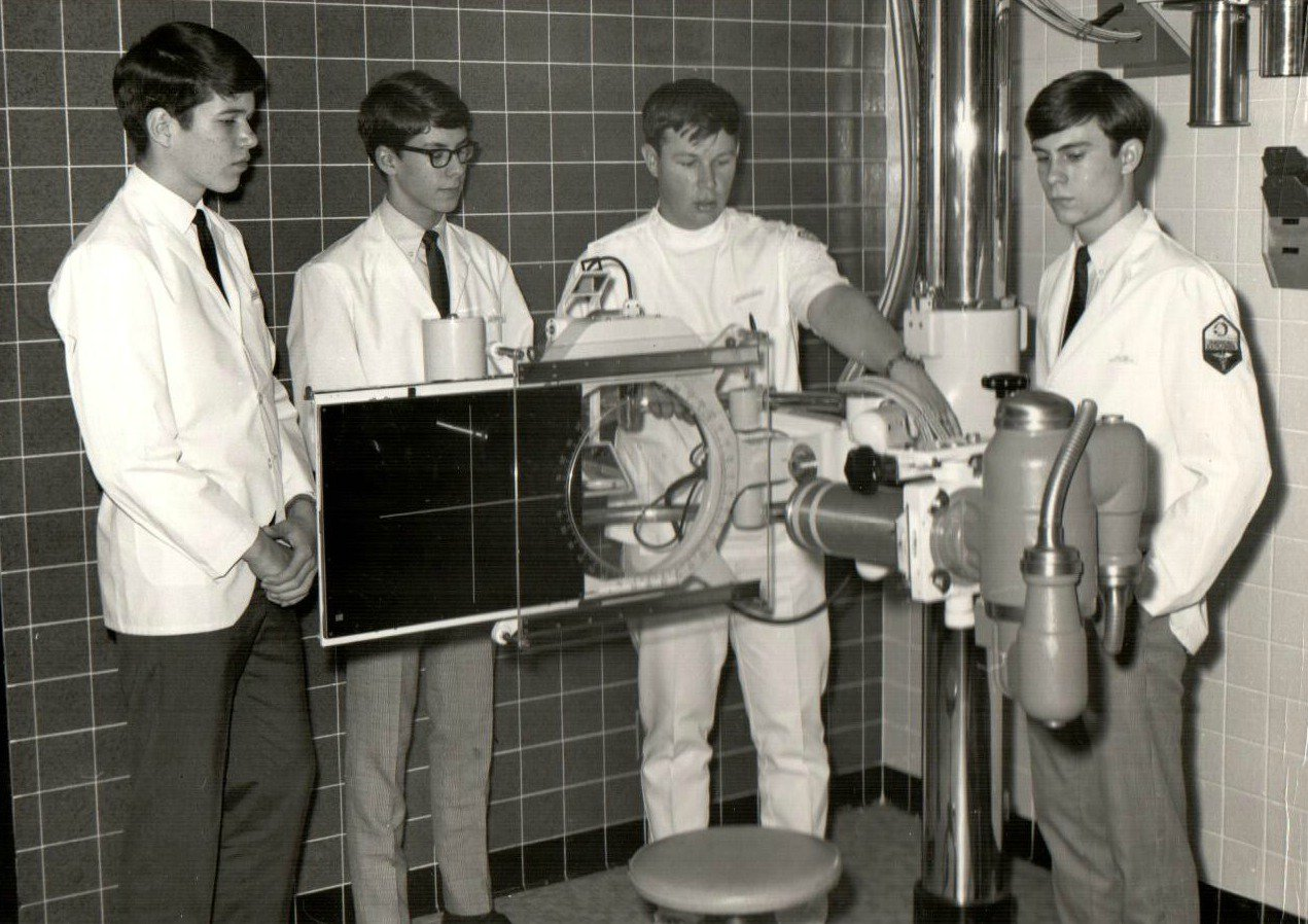 A group of early Medical Explorers pose for a photo.