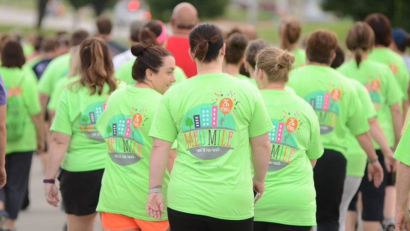 People walk in the Medical Mile, CoxHealth's annual 5K run/walk.