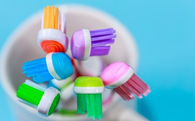 Colorful toothbrushes rest in a cup to represent the new OACAC dental care grant.